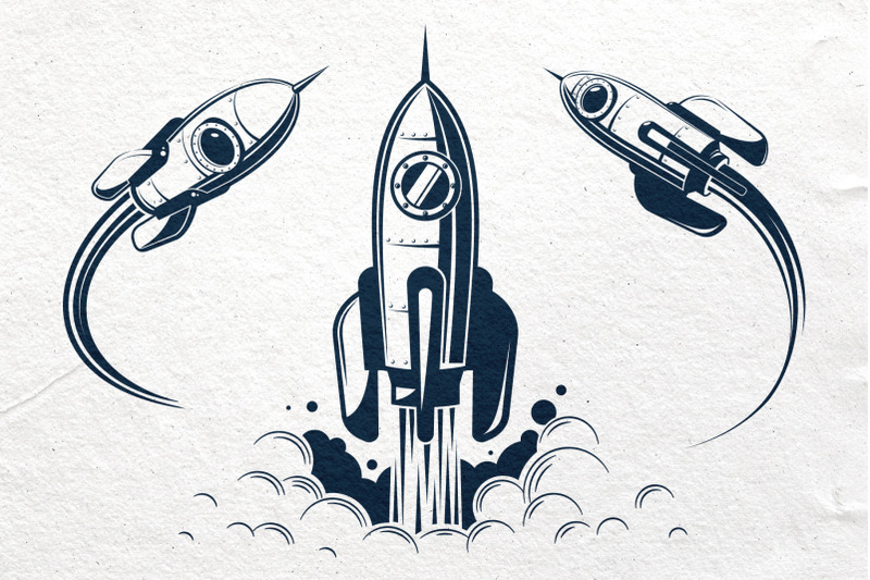 space-rocket-and-moon-set