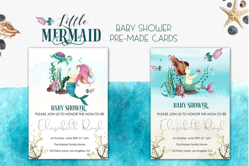 little-mermaid-watercolor-collection