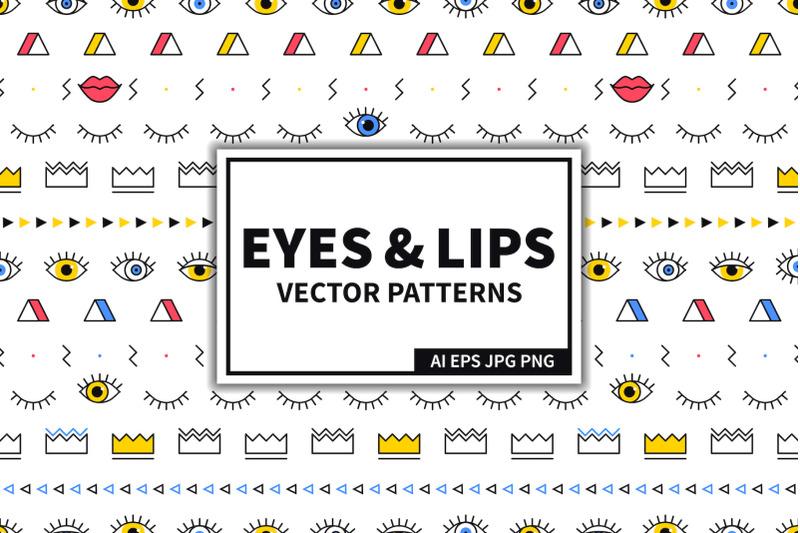 eyes-amp-lips-seamless-patterns-set