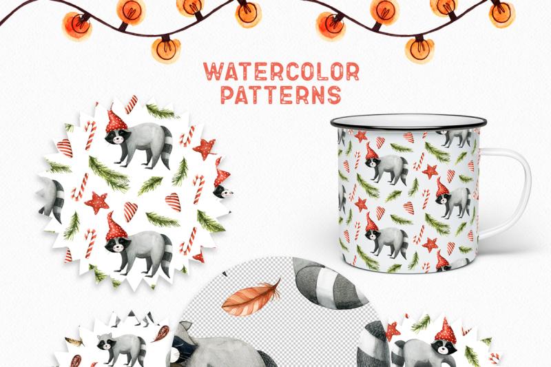 watercolor-christmas-raccoons