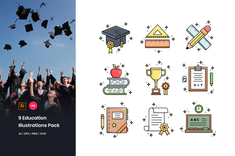 9-education-illustrations-pack