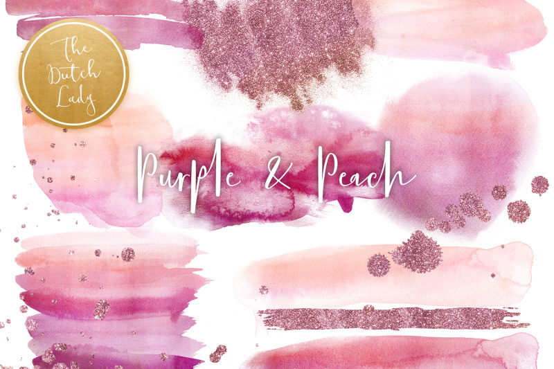 purple-amp-peach-watercolor-clipart