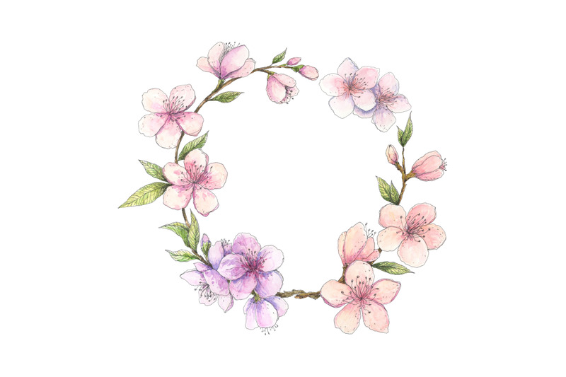 spring-cherry-almond-blossom-circle-frame-watercolor-floral-wreath