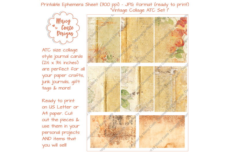 vintage-collage-atc-set-1-natural-shades-brown-beige-yellow-orange