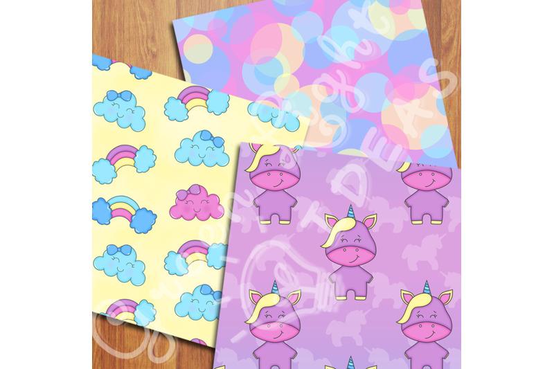 unicorns-digital-papers-kawaii-party-backgrounds-unicorn-scrapbook