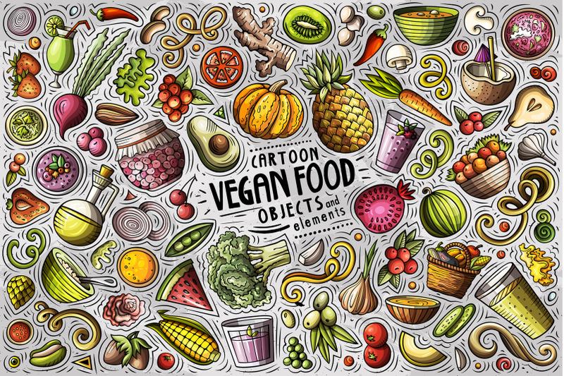 vegan-food-cartoon-objects-set