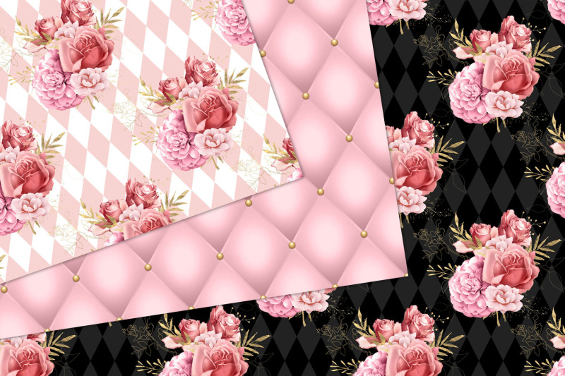 pink-and-gold-floral-digital-paper