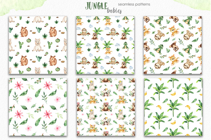 watercolor-jungle-babies-animals-clipart-frames-cards-patterns