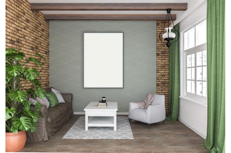 Download Interior scene - artwork background - frame mockup Free Mockups