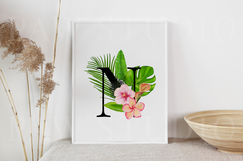tropical-graphic-letters-numbers-floral-frames-monogram