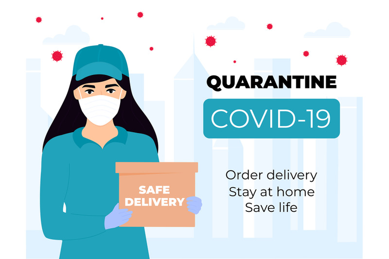 safe-delivery-courier-girl-in-a-protective-medical-mask-holds-a-parce