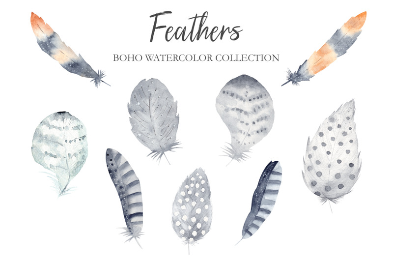 watercolor-boho-feathers-collection