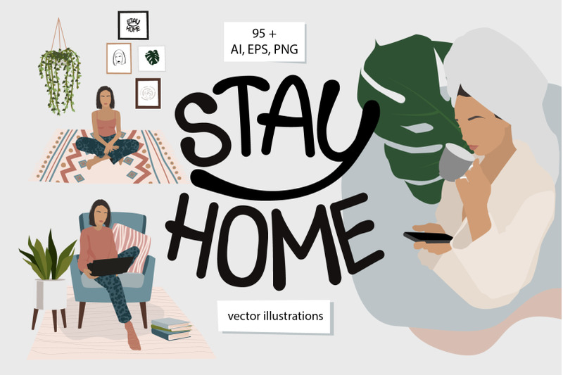 stay-home-vector-set