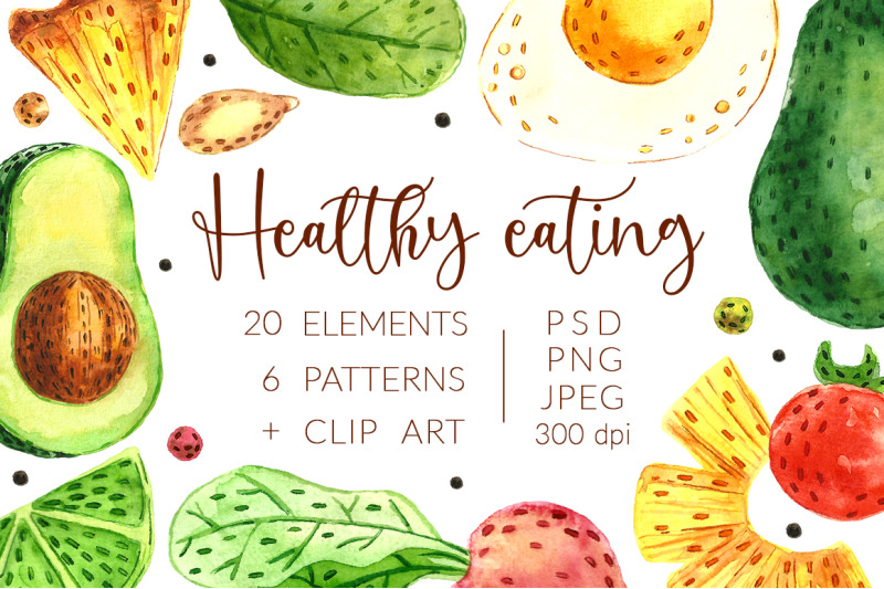 aquarel-hand-drawn-digital-healthy-eating-pack