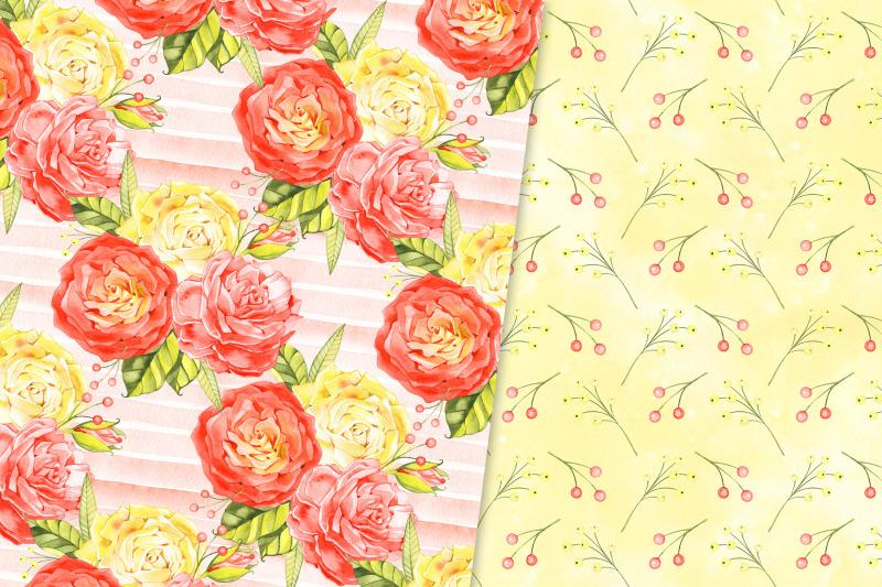 watercolor-roses-digital-paper-pack
