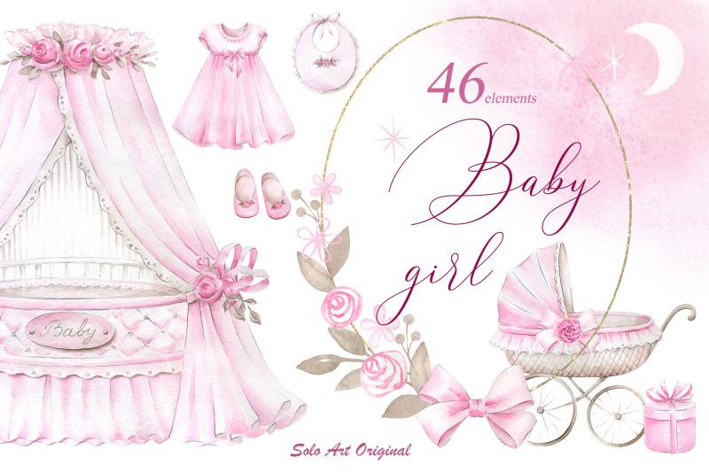 newborn-baby-girl-clipart-set