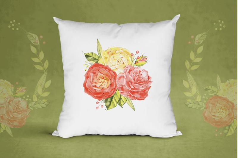 watercolor-roses-bouquet-cliparts