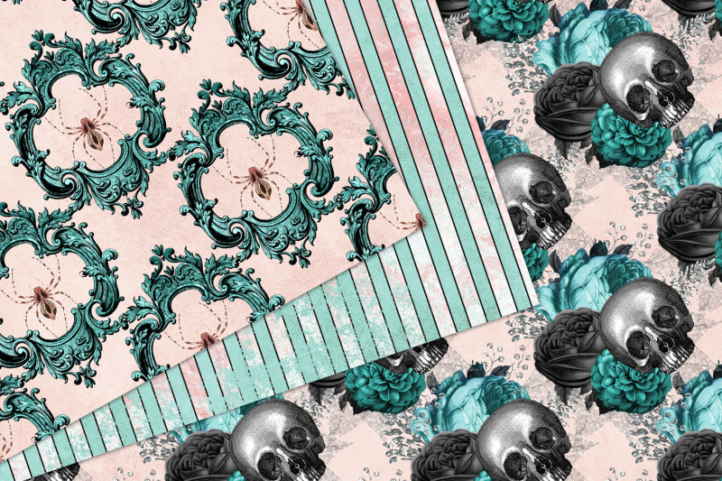 blush-and-turquoise-gothic-digital-paper