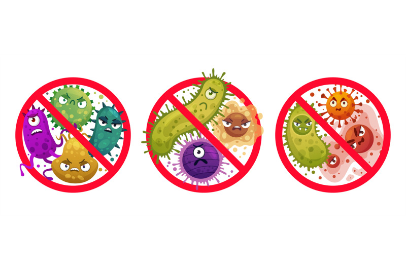 bacteria-in-prohibition-sign-comic-crossed-out-microbes-and-viruses