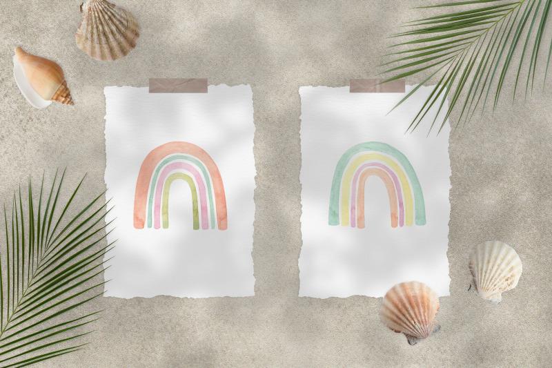 watercolor-boho-rainbow-set-and-seamless-patterns