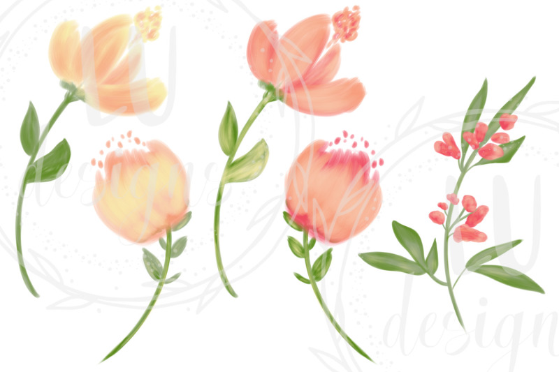 orange-flowers-clipart-spring-floral-wedding-graphics