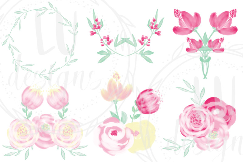 spring-flowers-clipart-pink-roses-wedding-floral-illustrations
