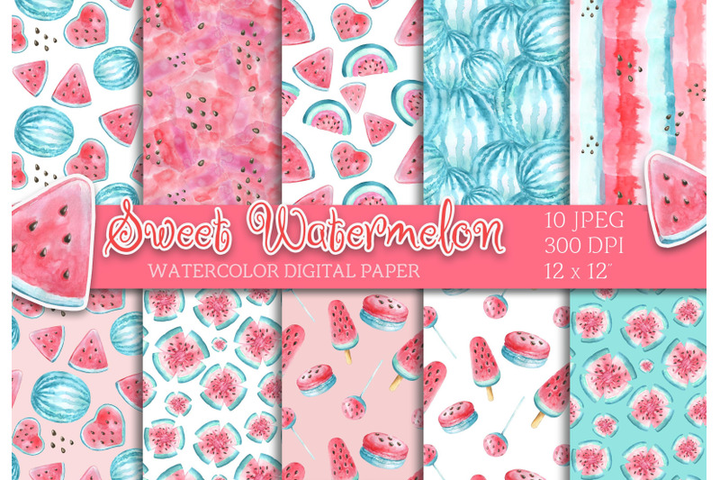 watercolor-watermelon-digital-paper-seamless-pattern-scrapbooking