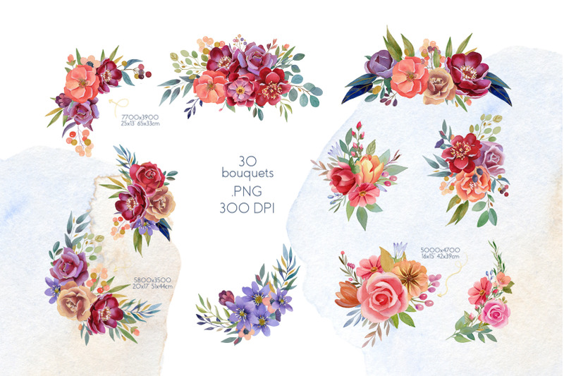 flower-bouquets-watercolor-collection