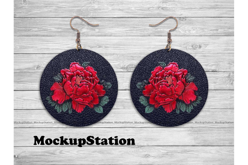 rose-leather-look-round-earring-sublimation-design-png