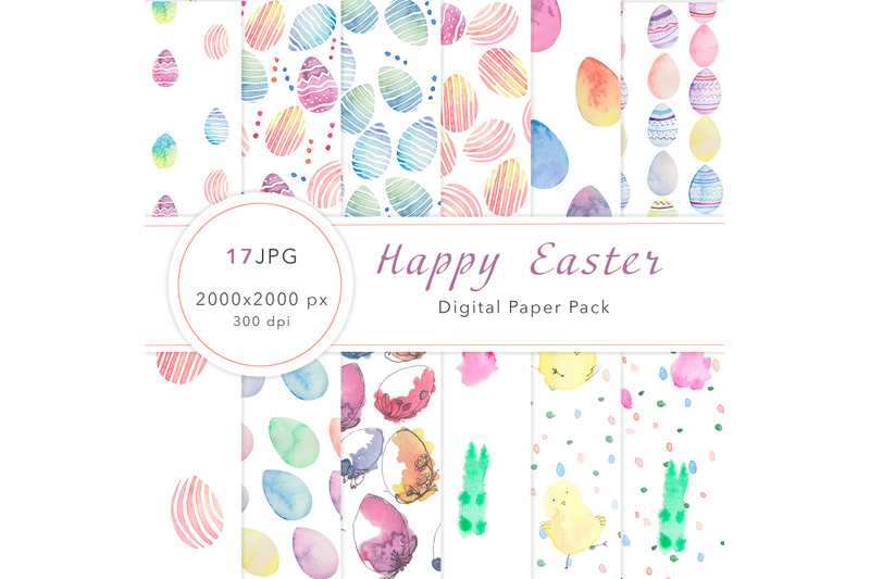 watercolor-happy-easter-digital-paper-pack