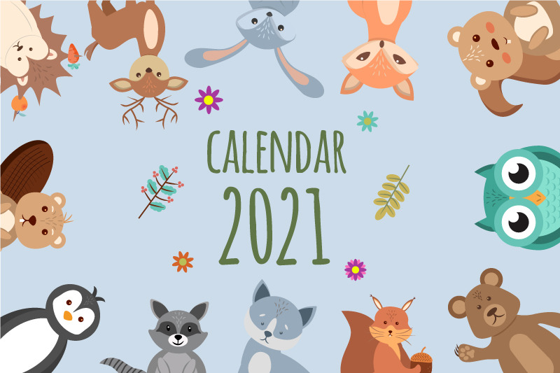Funny and cute animals. Beautiful children's calendar 2021 ...