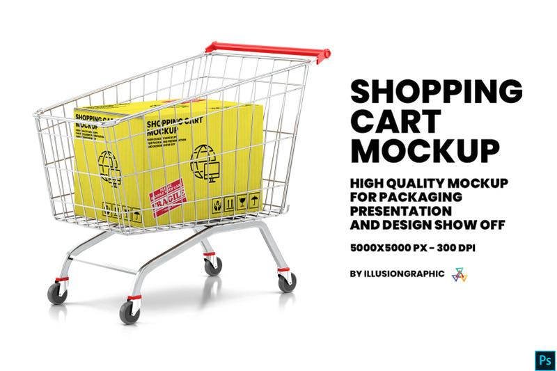 Download Shopping Cart With Kraft Box Mockup Free Mockups