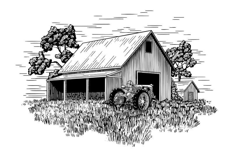 old-farm-tractor-and-barn