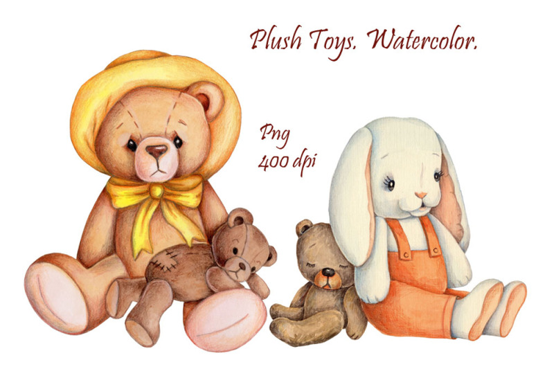 plush-toys-teddy-bears-and-bunny-watercolor