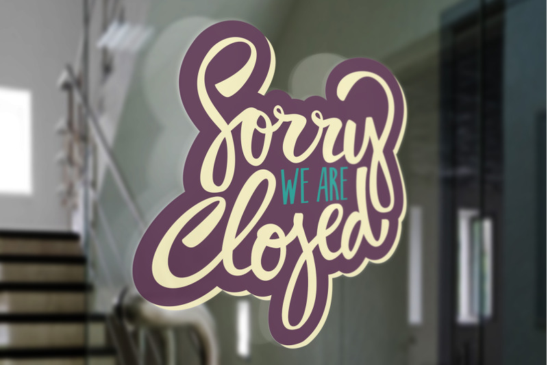 open-amp-closed-vector-lettering-set