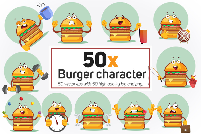50x-burger-character-in-different-situation-collection-illustration