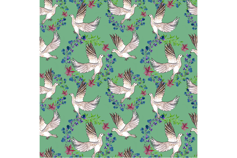 spring-seamless-pattern-with-doves-on-a-turquoise-background