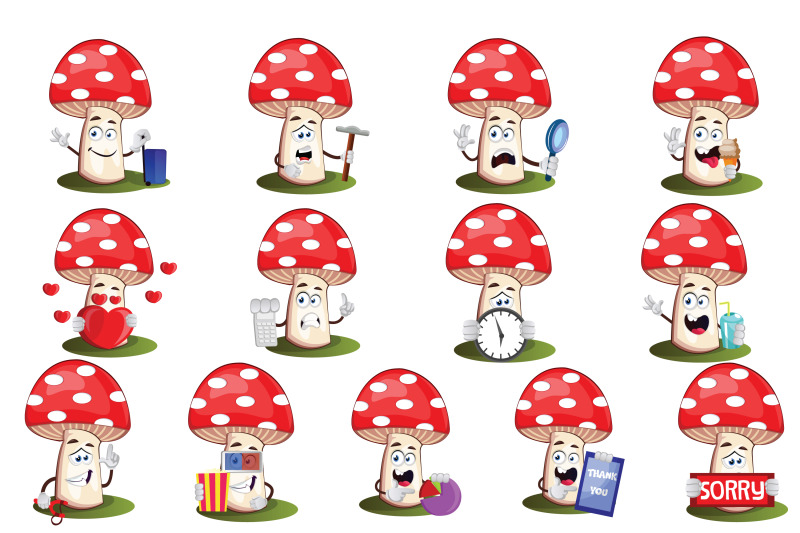 38x-mushroom-character-and-mascot-collection-illustration
