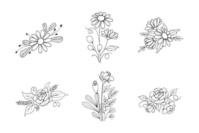 hand-drawn-flower-bouquet-collection-in-outline-style