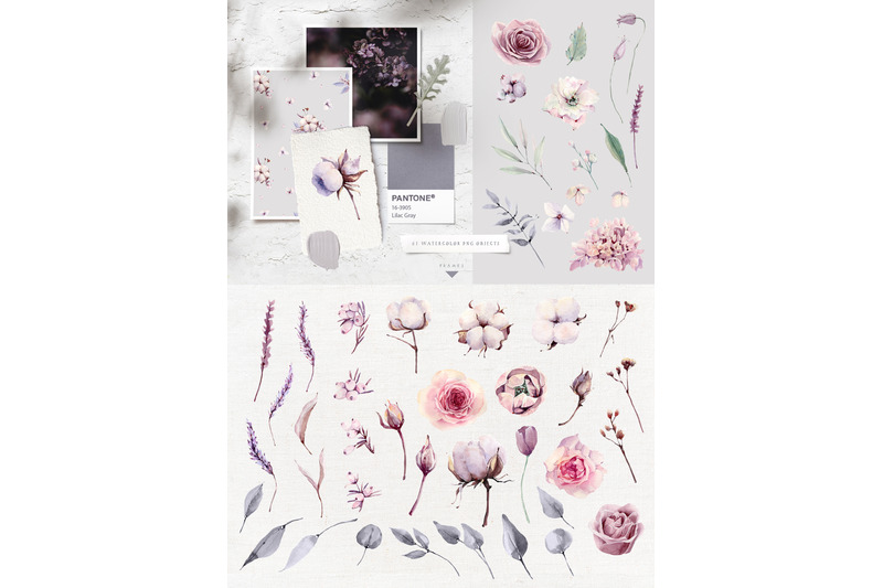 lilac-gray-watercolor-collection