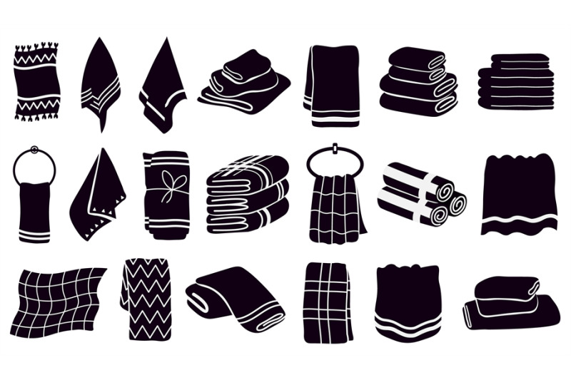 household-towel-silhouettes-black-textile-rolled-and-hanging-towels