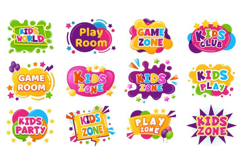 kids-entertainment-badges-game-room-party-labels-children-education