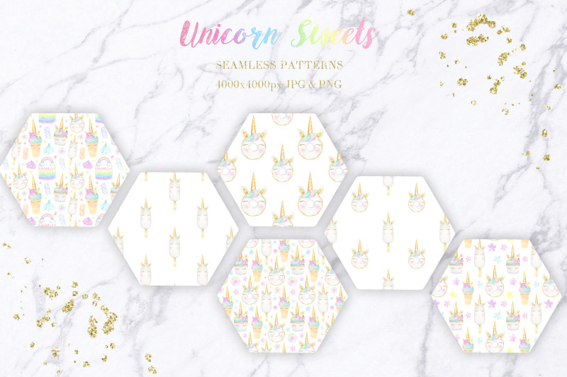 unicorn-sweets-watercolor-collection-of-cliparts-and-patterns