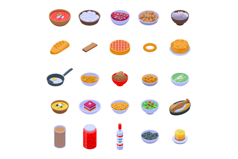 russian-cuisine-icons-set-isometric-style