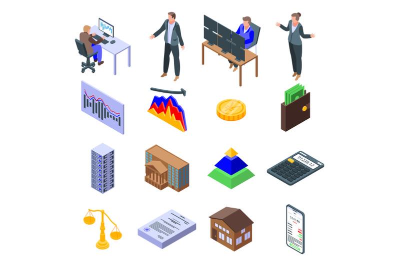 broker-icons-set-isometric-style