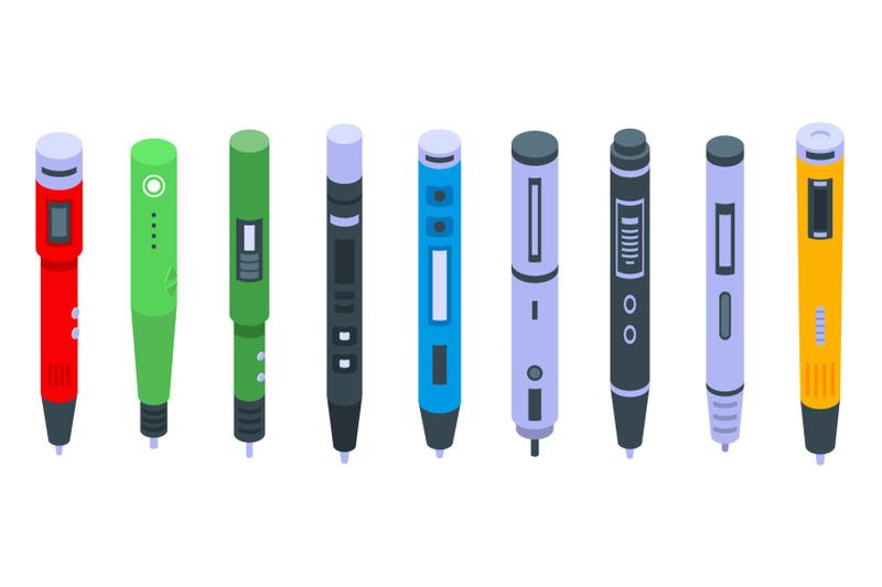 3d-pen-icons-set-isometric-style