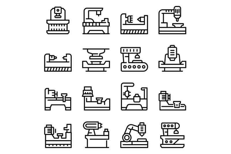 lathe-icons-set-outline-style