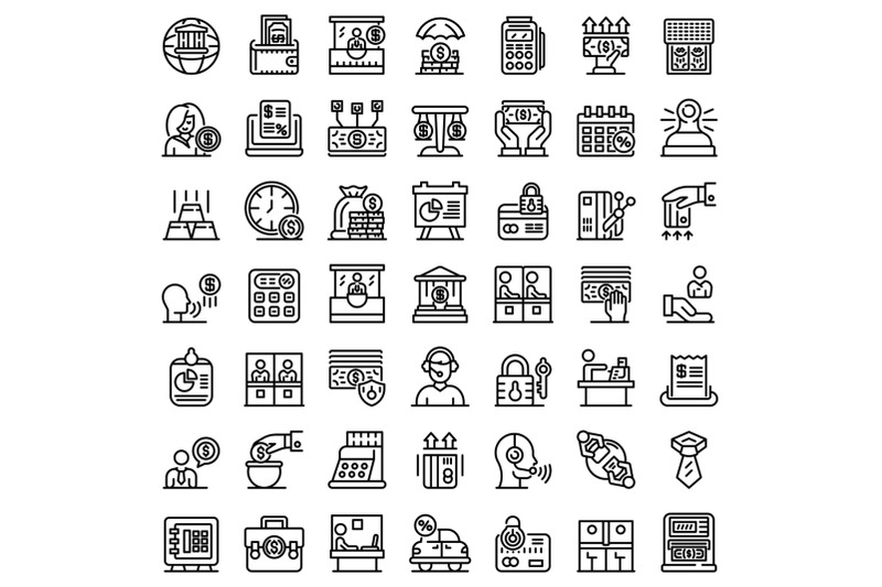 bank-teller-icons-set-outline-style