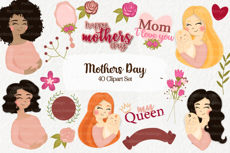 mothers-day-cliparts-set