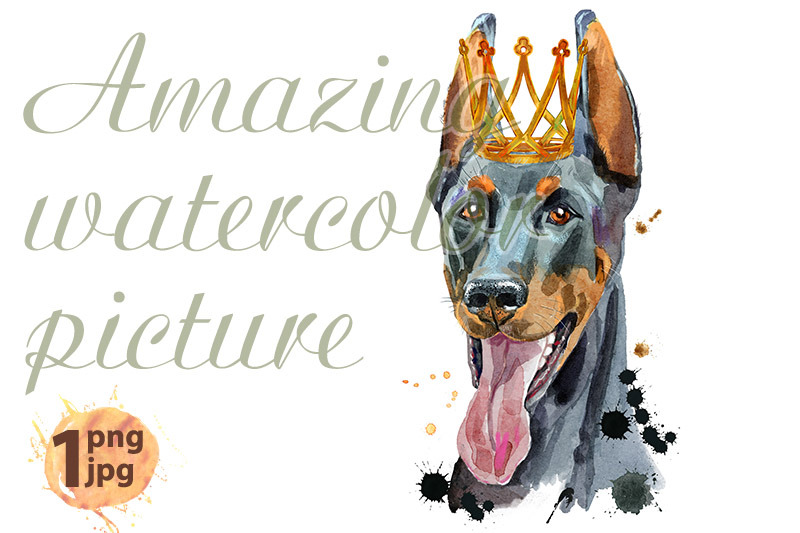 watercolor-portrait-of-black-doberman-with-golden-crown